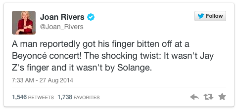 Joan Rivers Beyonce tweet