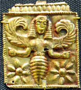 Gold plaques embossed with winged bee goddesses, found at Camiros Rhodes, dated to 7th century BCE (British Museum)