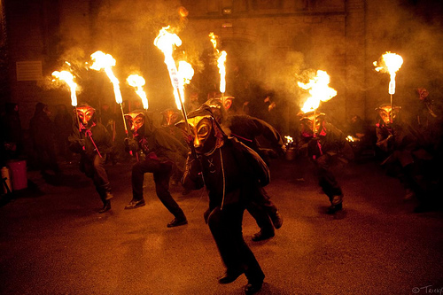 The Fox Dance in full swing by Mister Fox at the Marsden Imbolc festival.